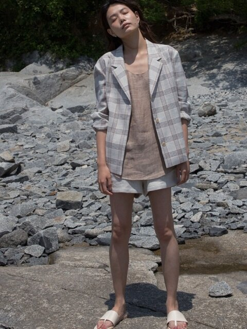 linen short jacket (beige check)