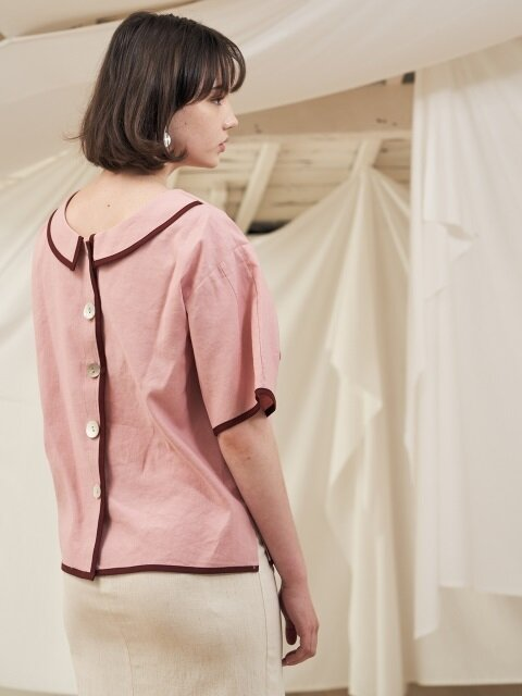 18 summer_Pink Linen Piping Blouse