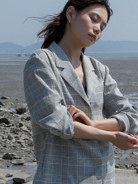 linen short jacket (black check)