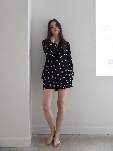 W Piped PJM Shorts _ Black dots
