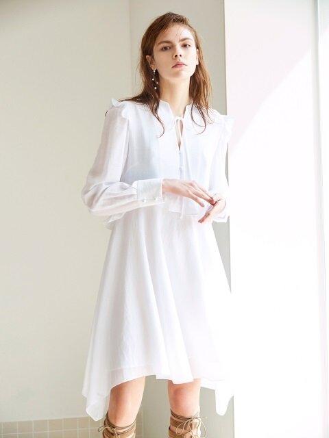 RUFFLE SHIRT DRESS WHITE