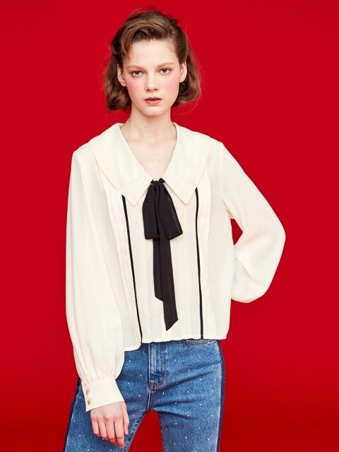RIBBON TIE BLOUSE_IVORY/BLACK