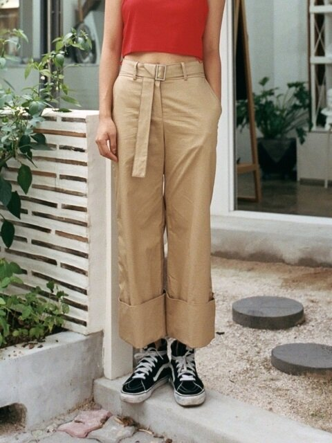 BELT TURN UP PANTS_BEIGE