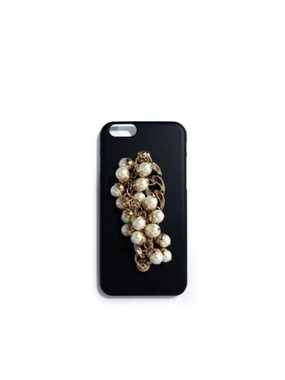 pearl gold chain black case