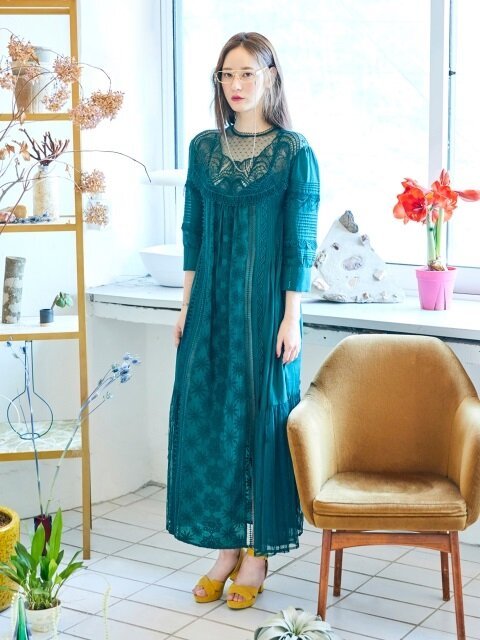 Lace Patch Long Dress(KHAKI)