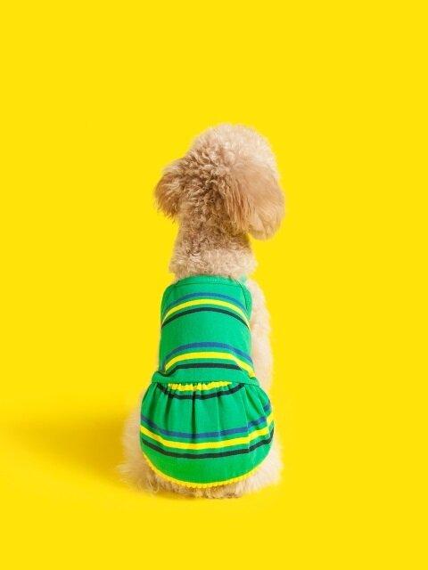 Drop stripe Dress-Green