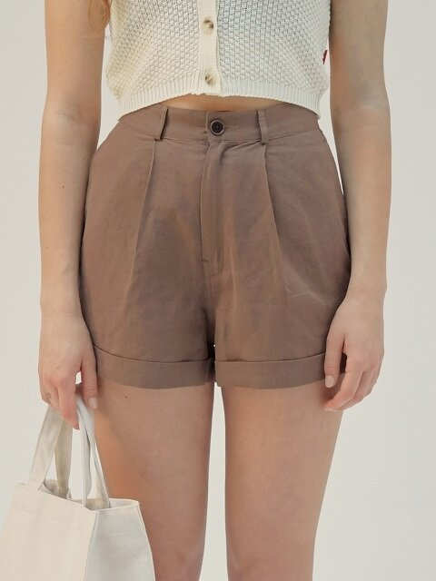 HIGH WAIST LINEN SHORTS [BROWN]