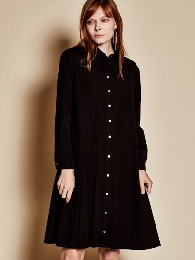 Long pleats dress_black