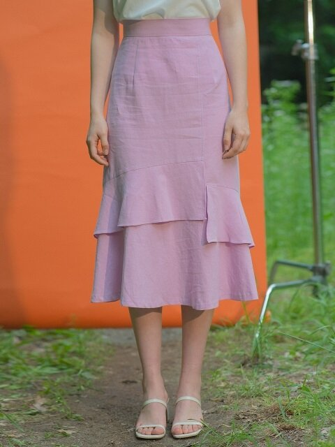 Linen Long Skirt Purple