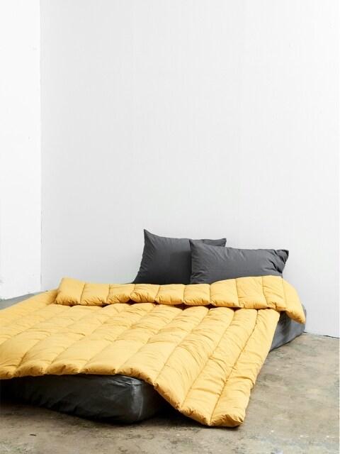 silky cotton comforter _ mustard