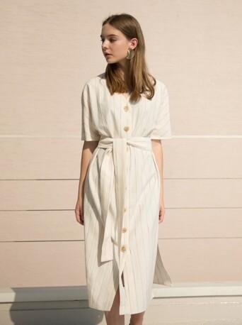 17RESORT V-NECK BUTTON ROBE DRESS BEIGE STRIPE