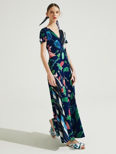 Tropical Patterned Long Dress