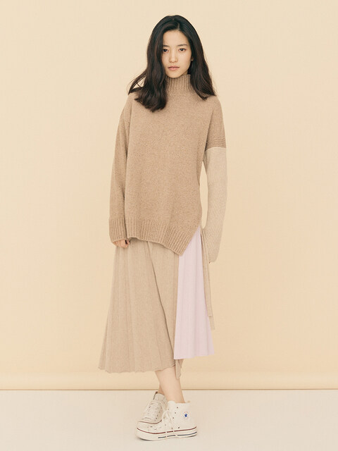 [FRONTROW x RePLAIN] Cashmere Pleated Knit Skirt