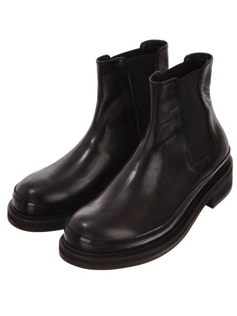 Black Kip Leather Block Chelsea Boots