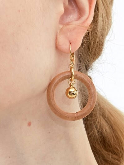 Wood Circle and Drop Earrings