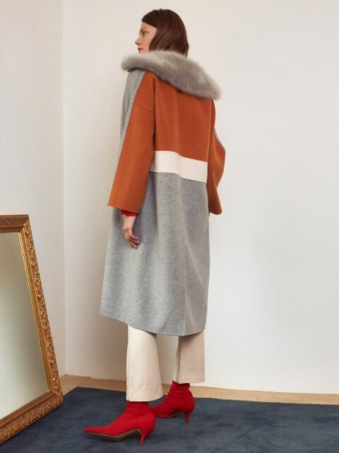 [FRONTROW x REJINA PYO] Color block Hand-made Pure-Wool Coat_M.Grey