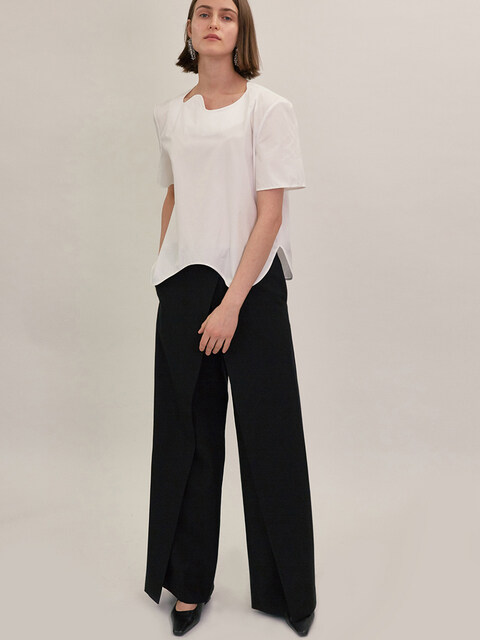 18SS CROSSOVER WIDE LEG PANTS