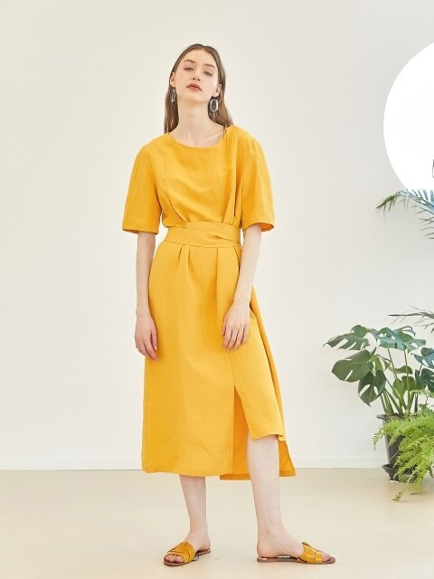 Unbalance linen dress - Yellow