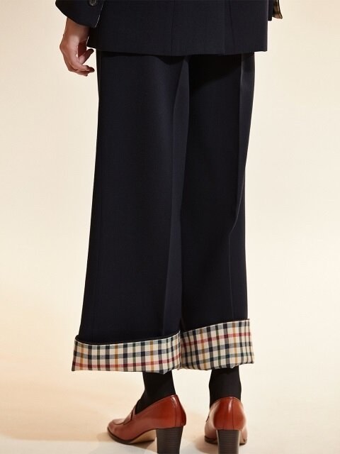 check coloration super wool pants_navy