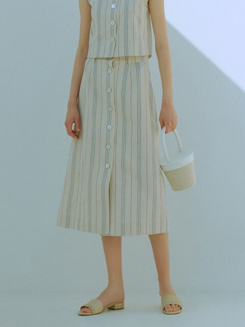 [EXCLUSIVE] STRIPE LINEN BUTTON SKIRT_2colors