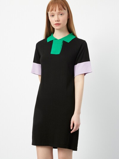 R CONTRAST COLLAR KNIT DR