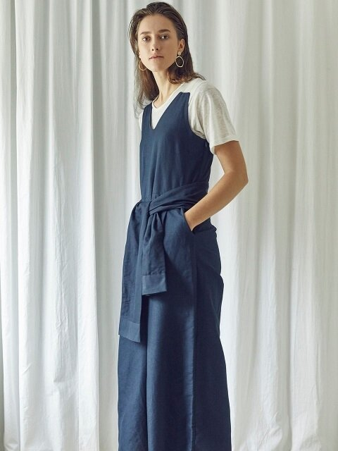 WOMAN LINEN DETAIL JUMP SUIT (NAVY)