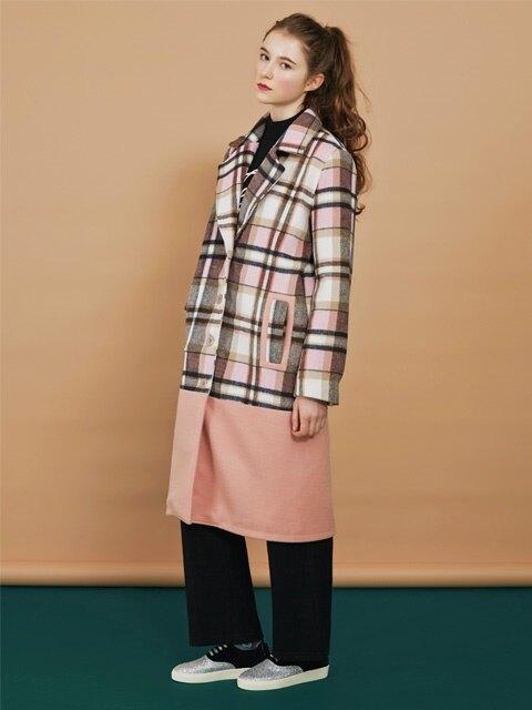 pink check long coat