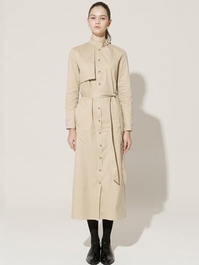 16 FW buckle strap trench long dress (beige)