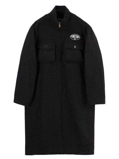 SOMETHING PATCH POCKET COAT - BLACK