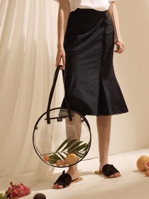 Linen Mermaid Skirt - Navy