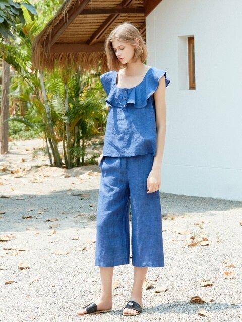 blue linen two-piece