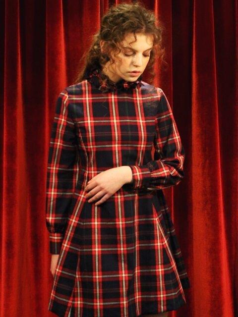 Romantic Ribbon Mini Dress : RED CHECK