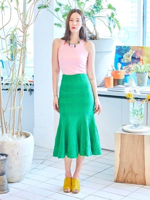 Neon Mermaid Skirt(OLIVE GREEN)
