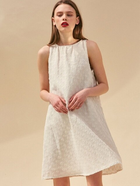HALTER NECK MINI DRESS. IVORY LINEN