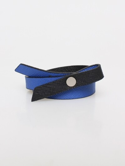 RIBBON LEATHER BRACELET_COBALT BLUE