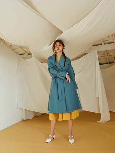INVERTED PLEATS SLEEVE TRENCH COAT_MINT BLUE