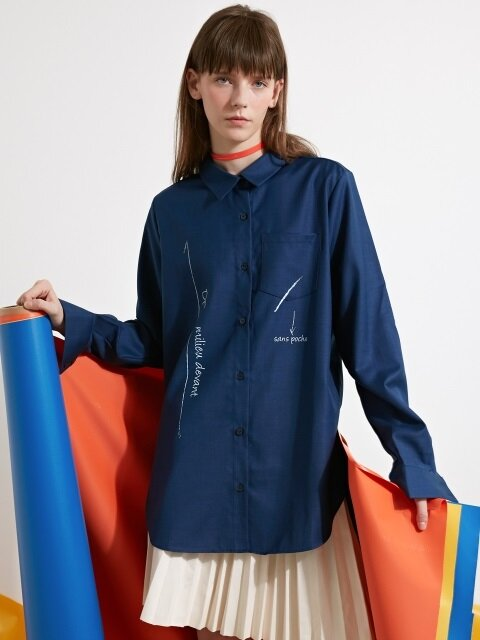MARKING PRINT SHIRT - NAVY
