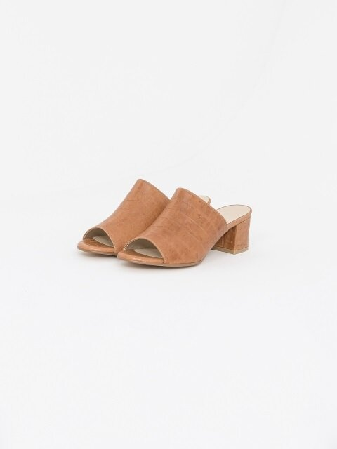 50mm Swinton Croc-Embossed Leather Slides (Camel)