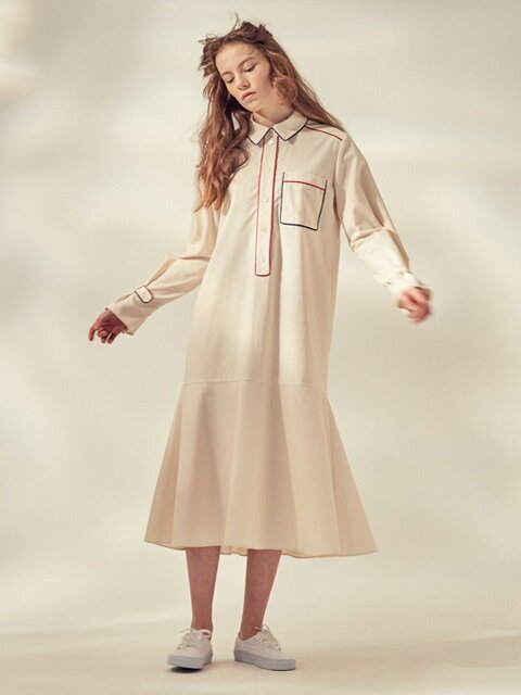 LONG PYJAMA DRESS_IVORY/NAVY