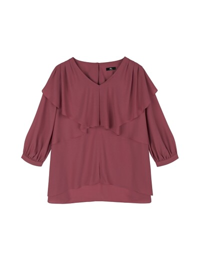 CROSS RUFFLE V NECK BLOUSE_GRAPE PINK