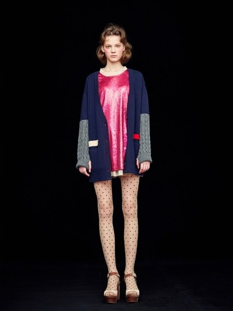 CABLE KNIT CARDIGAN_NAVY