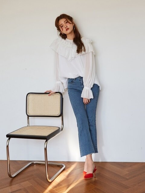 STRAIGHT BOOTCUT EYELET DENIM_OCEAN