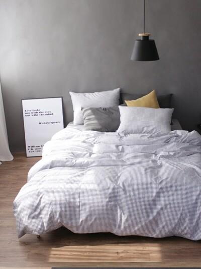 Black check bedding set (SS/Q)