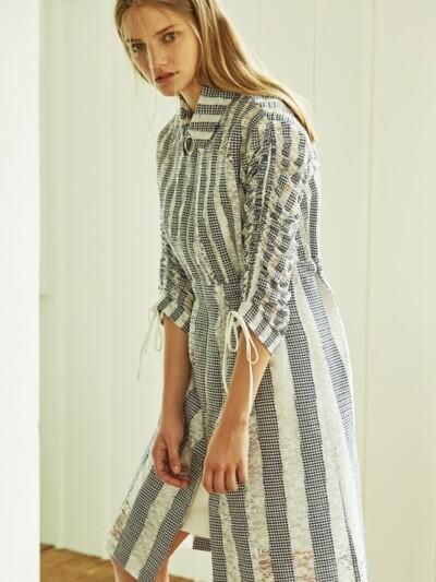Bruna Lace Shirring Trench Coat