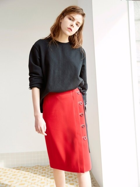 BUTTON DOWN MIDI SKIRT RED