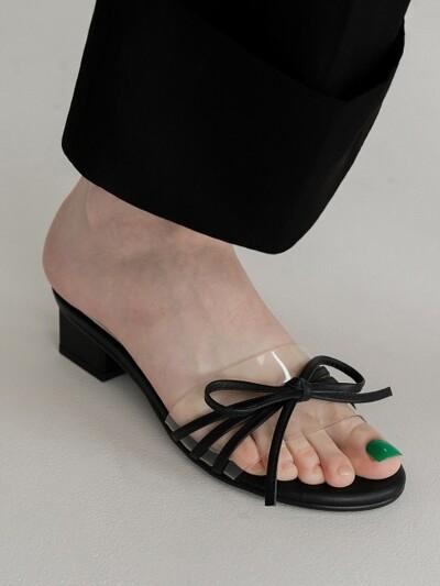 Petal capture clear ribbon sandal_Black