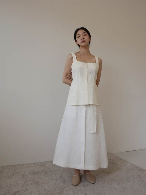 Frayed hem linen skirt(white)