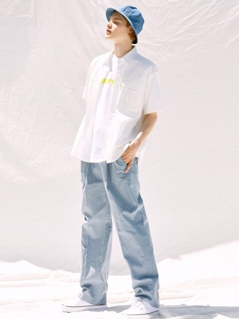 V240 LINEN WIDE PANTS_SKYBLUE