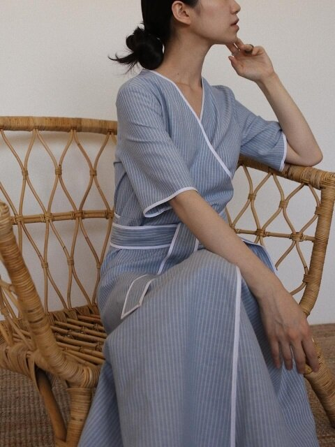 Piping linen robe(blue)