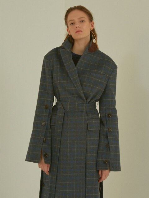 Camille Wool Sleeve pointed coat _ Gray check